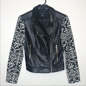 Faux Leather Jacket Tribal Print Sleeves